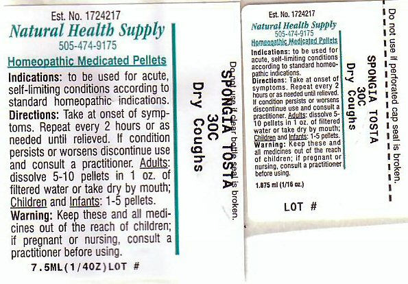 Dry Cough (Spongia Officinalis Skeleton, Roasted) Pellet [Natural Health Supply]