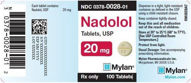 Nadolol Tablets 20 mg Bottle Label