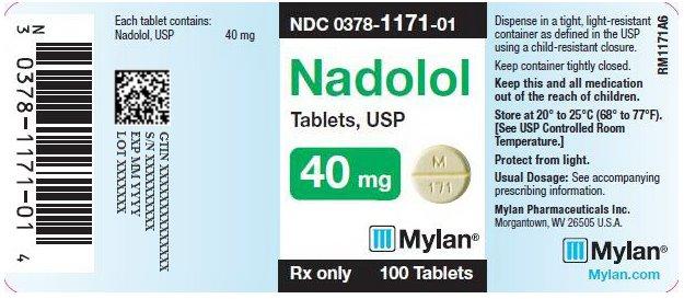 Nadolol Tablets 40 mg Bottle Label
