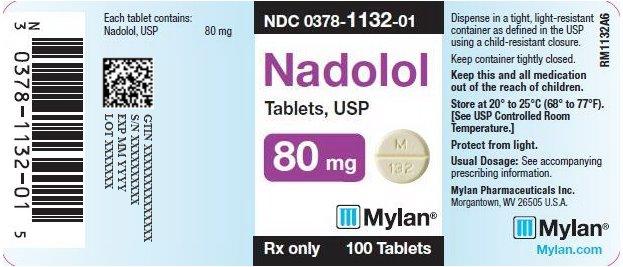 Nadolol Tablets 80 mg Bottle Label