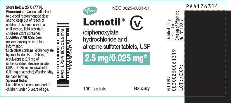 Lomotil (Diphenoxylate Hydrochloride And Atropine Sulfate) Tablet [G.d. Searle Llc Division Of Pfizer Inc]