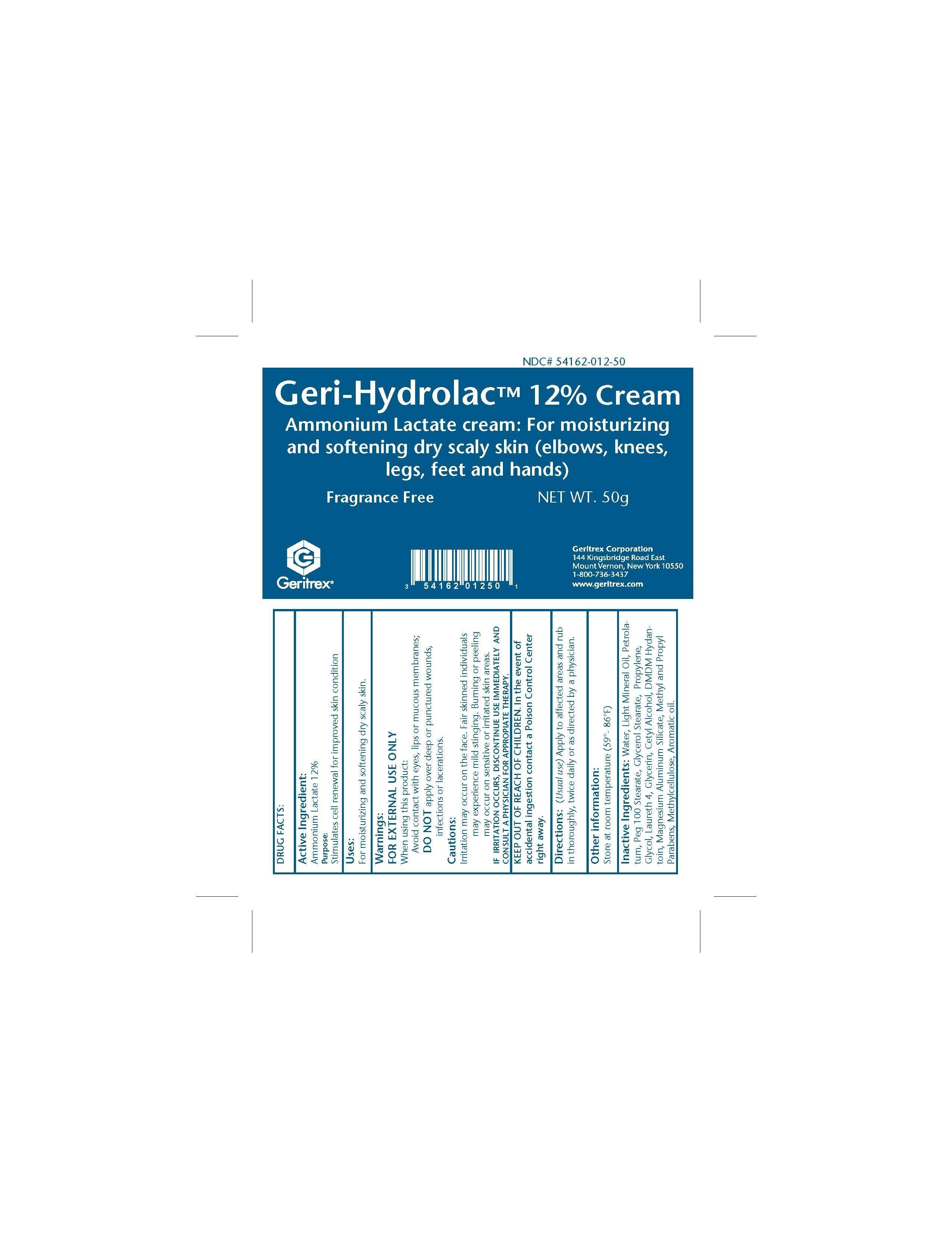 Geri-hydrolac (Ammonium Lactate) Cream [Geritrex Corp]