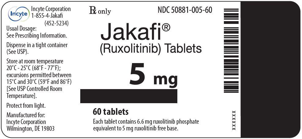 Jakafi (Ruxolitinib) 5mg Tablets - 60 Tablet Bottle Label