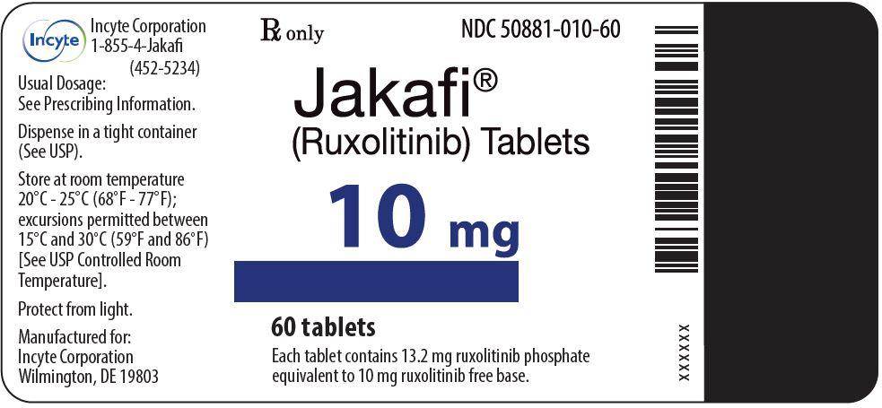 Jakafi (Ruxolitinib) 10mg Tablets - 60 Tablet Bottle Label