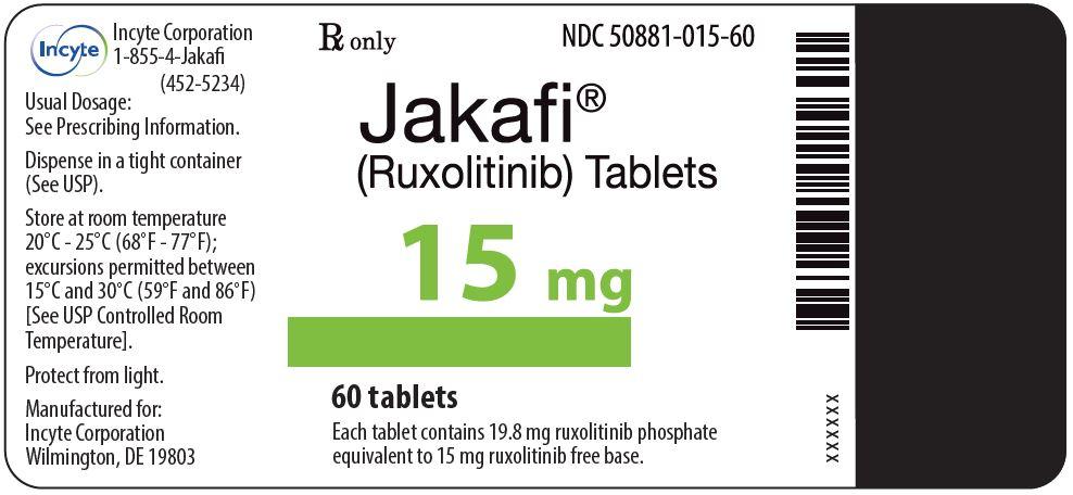 Jakafi (Ruxolitinib) 15mg Tablets - 60 Tablet Bottle Label