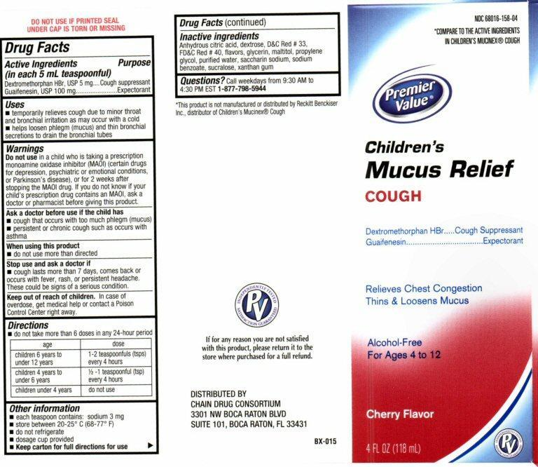 Childrens Mucus Relief Cough (Dextromethorphan Hydrobromide, Guaifenesin) Liquid [Chain Drug Consortium, Llc]