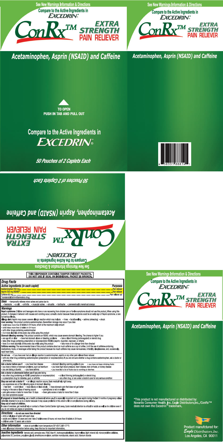 Conrx Pain Reliever (Acetaminophen, Aspirin, And Caffeine) Tablet [Eagle Distributors,inc.]