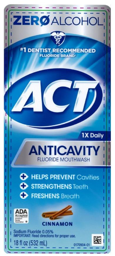 #1 DENTIST RECOMMENDED  FLUORIDE BRAND ACT Anitcavity Fluoride Mouthwash alcohol free CINNAMON 18 fl. oz. (532 mL)