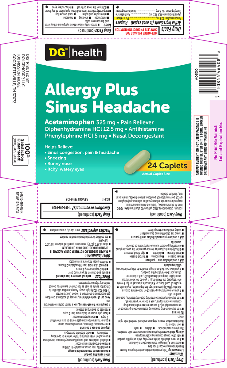 Allergy/sinus Headache (Acetaminophen, Diphenhydramine Hcl And Phenylephrine Hcl) Tablet [Dolgencorp, Llc]
