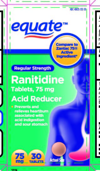 This is the 30 count blister carton label for Walmart Ranitidine tablets, 75 mg.