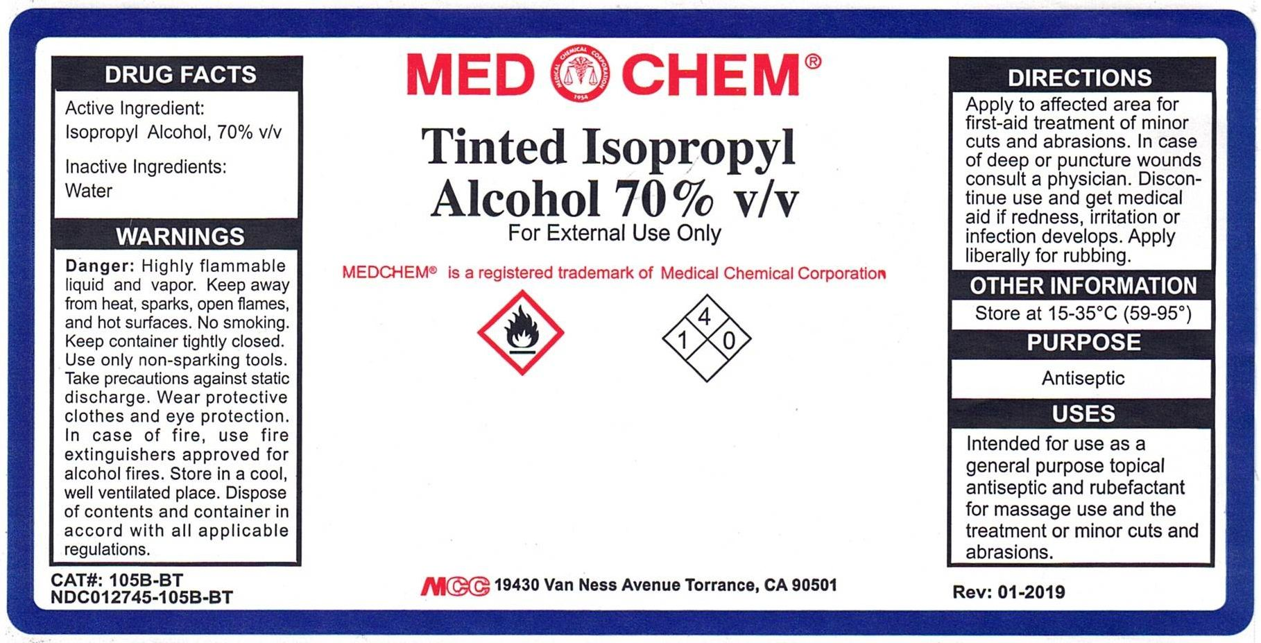 Tinted Isopropyl Alcohol (Isopropyl Alcohol) Liquid [Medical Chemical Corporation]
