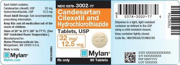 Candesartan and HCTZ Tablets 32 mg/12.5 mg Bottle Label