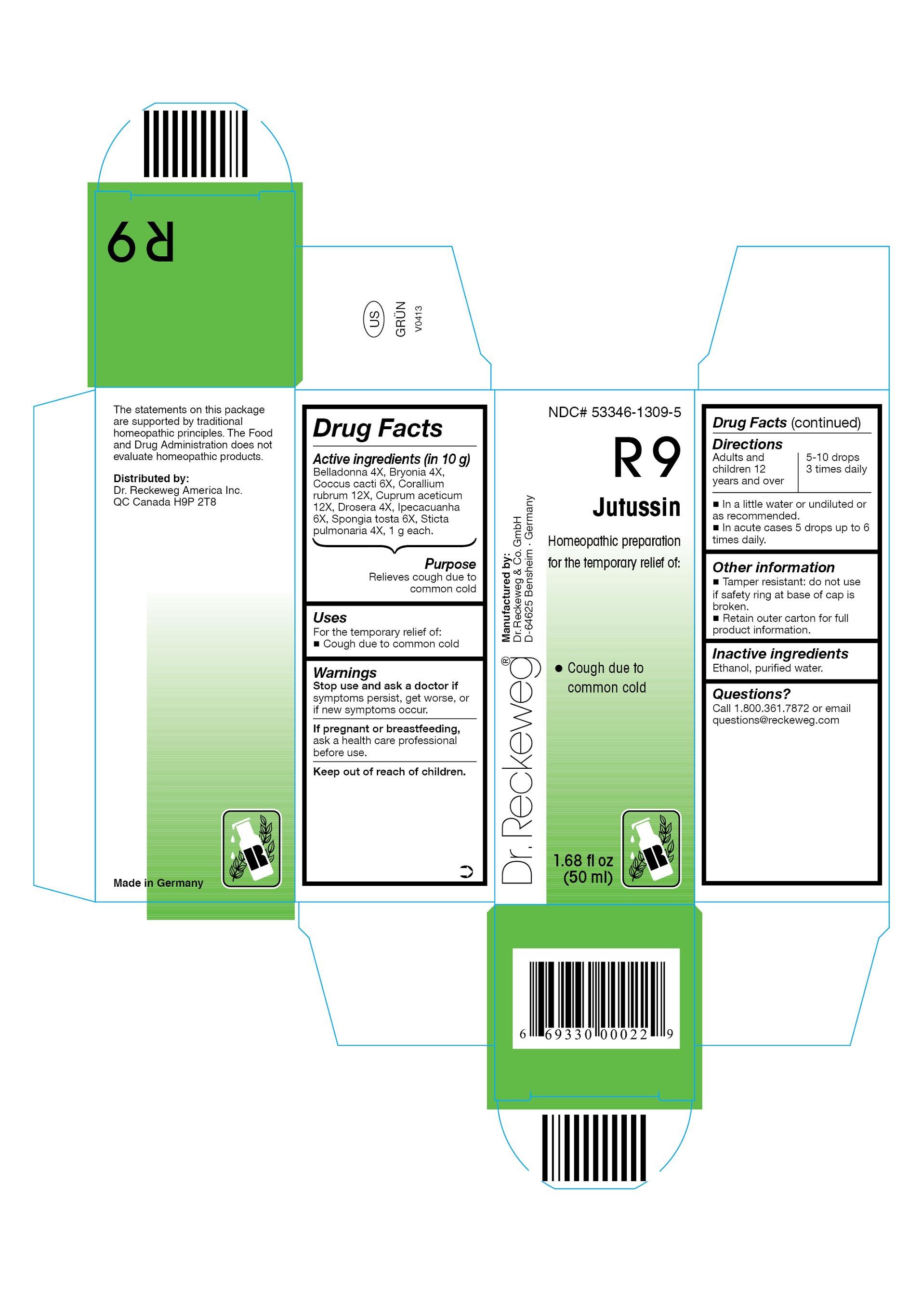 Dr. Reckeweg R9 Jutussin Combination Product (Belladonna 4x, Bryonia 4x, Coccus Cacti 6x, Corallium Rubrum 12x, Cuprum Aceticum 12x, Drosera 4x, Ipecacuanha 6x, Spongia Tosta 6x, Sticta Pulmonaria 4x) Liquid [Pharmazeutische Fabrik Dr. Reckeweg & Co]