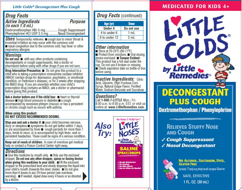 Little Colds Decongestant Plus Cough (Dextromethorphan Hydrobromide And Phenylephrine Hydrochloride) Liquid [Medtech Products Inc.]