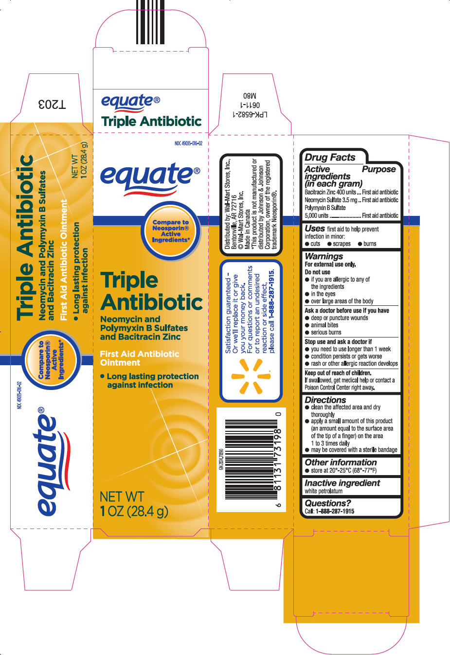 Triple Antibiotic (Bacitracin Zinc, Neomycin Sulfate, And Polymyxin B Sulfate) Ointment [Wal-mart Stores, Inc.]