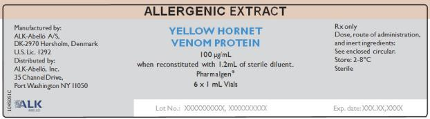 Allergenic Extract Yellow Hornet Venom Protein 100 µg/mL  6 x 1 mL Vials Rx Only