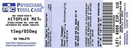PRINCIPAL DISPLAY PANEL 15 mg / 850 mg 60 Tablet Bottle