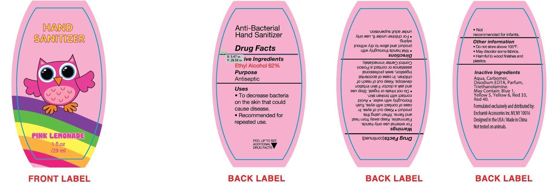 Pink Lemonade Hand Sanitizer (Alcohol) Liquid [Enchante Accessories Inc. ]