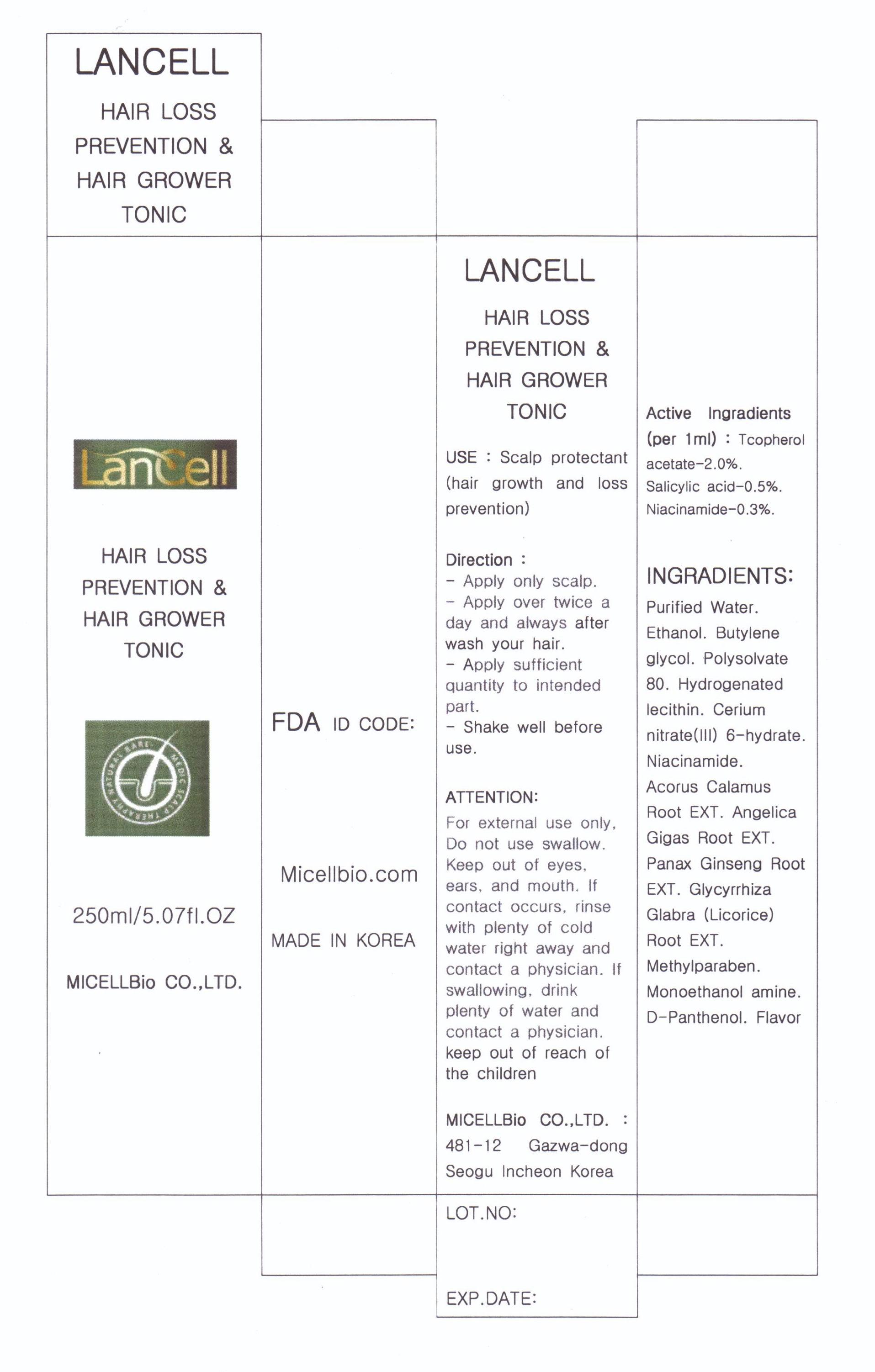 Lancell Hair Loss Prevention Hair Grower Tonic (Salicylic Acid) Liquid [Micellbio Co., Ltd]