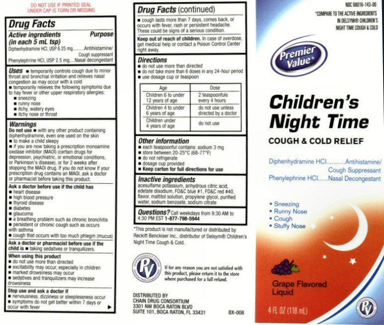 Childrens Night Time Cough And Cold Relief (Diphenhydramine Hydrochloride, Phenylephrine Hydrochloride) Liquid [Chain Drug Consortium, Llc]