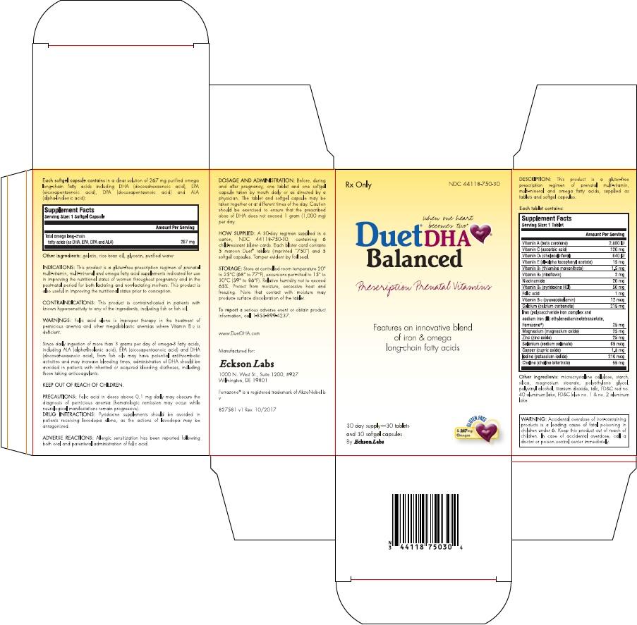 Duet Dha Balanced (.beta.-carotene, Ascorbic Acid, Cholecalciferol, .alpha.-tocopherol, D-, Thiamine Mononitrate, Riboflavin, Niacinamide, Pyridoxine Hydrochloride, Folic Acid, Cyanocobalamin, Calcium Carbonate, Iron, Magnesium, Zinc Oxide, Sodium Selenate, Cupric Oxide, Iodine, Choline, Omega-3 Fatty Acids) Kit [Eckson Labs, Llc]