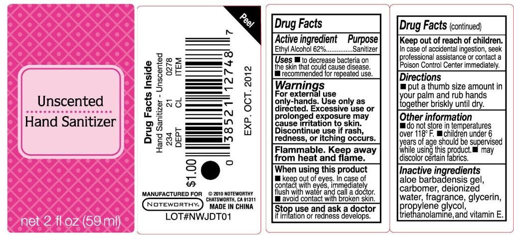 Unscented Hand Sanitizer (Ethyl Alcohol) Liquid [Papermates, Inc. Dba Noteworthy]