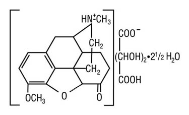 Chemical structure for hydrocodone bitartrate.