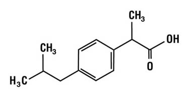 Chemical structure for ibuprofen.