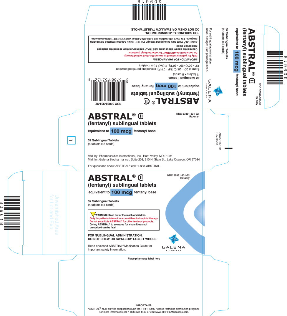 Abstral (Fentanyl Citrate) Tablet [Galena Biopharma, Inc.]