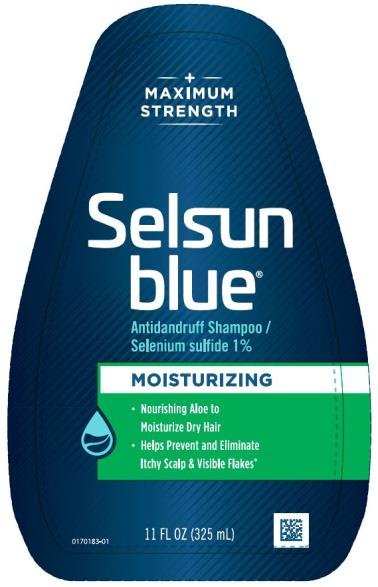 PRINCIPAL DISPLAY PANEL Moisturizing Selsun blue® DANDRUFF SHAMPOO selenium sulfide 1% 7 FL OZ (207 mL)