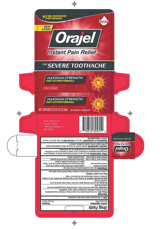 Orajel Severe Toothache Maximum Strength Fast-acting Formula (Benzocaine) Liquid [Church & Dwight Co., Inc.]