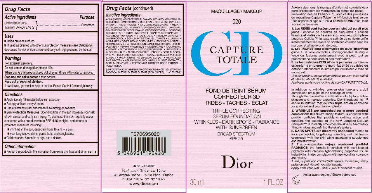 Cd Capture Totale Triple Correcting Serum Foundation Wrinkles-dark Spots-radiance With Sunscreen Broad Spectrum Spf 25 020 (Octinoxate, Titanium Dioxide) Cream [Parfums Christian Dior]