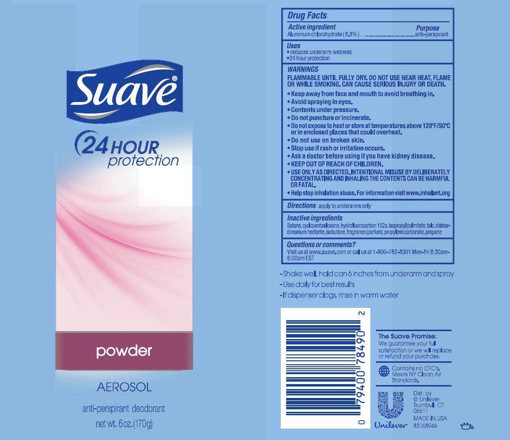 Suave Powder Antiperspirant And Deodorant (Aluminum Chlorohydrate) Aerosol, Spray [Conopco Inc. D/b/a Unilever]