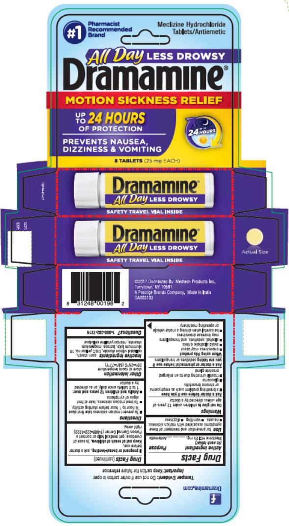 Dramamine Less Drowsy (Meclizine Hydrochloride) Tablet [Medtech Products Inc.]