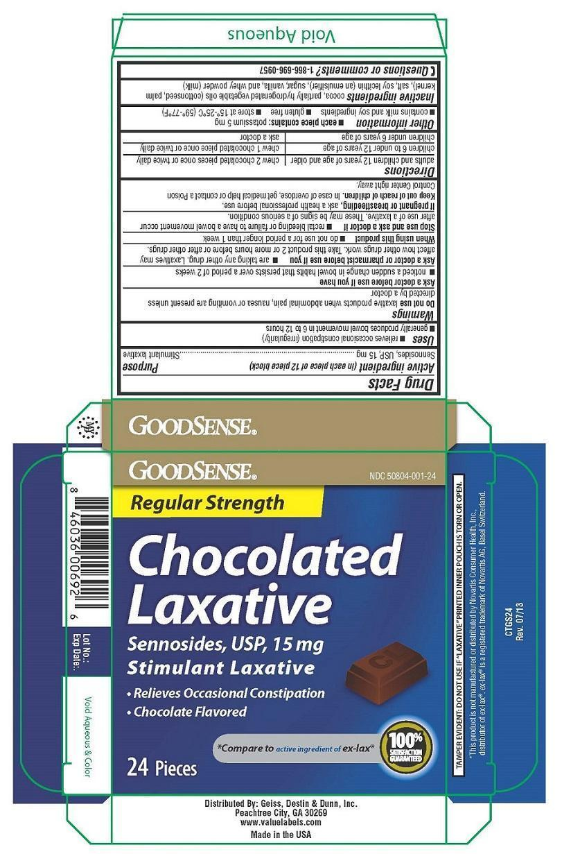 Chocolated Laxative (Sennosides Stimulant Laxative) Tablet, Chewable [Geiss, Destin & Dunn, Inc]