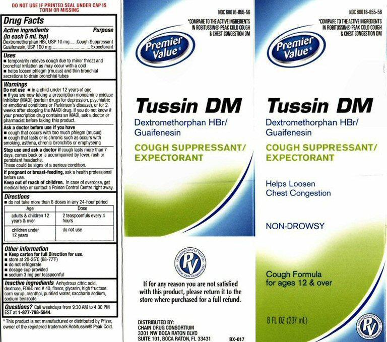 Tussin Dm Cough Suppressant/expectorant (Dextromethorphan Hydrobromide, Guaifenesin) Liquid [Chain Drug Consortium, Llc]