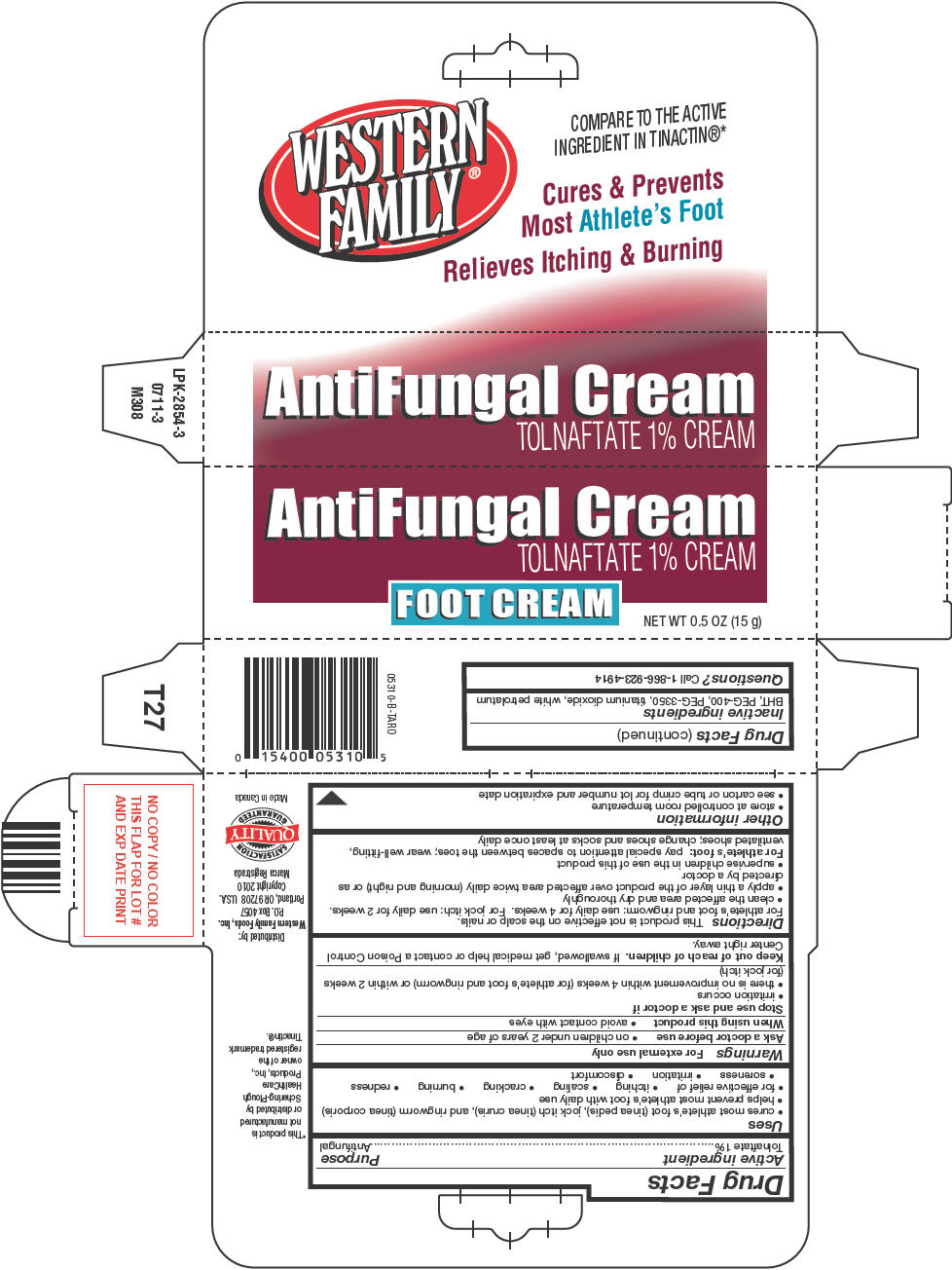 Western Family Antifungal (Tolnaftate) Cream [Western Family Foods Inc]