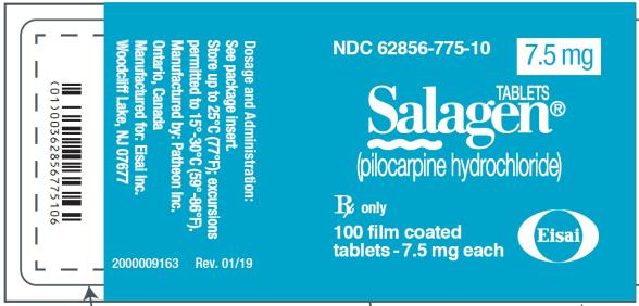 PRINCIPAL DISPLAY PANEL NDC 62856-775-10 Tablets SALAGEN® (pilocarpine hydrochloride) 7.5 mg 100 film coated tablets- 7.5 mg each Rx Only