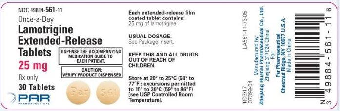 Lamotrigine ER Tablets 25 mg Label