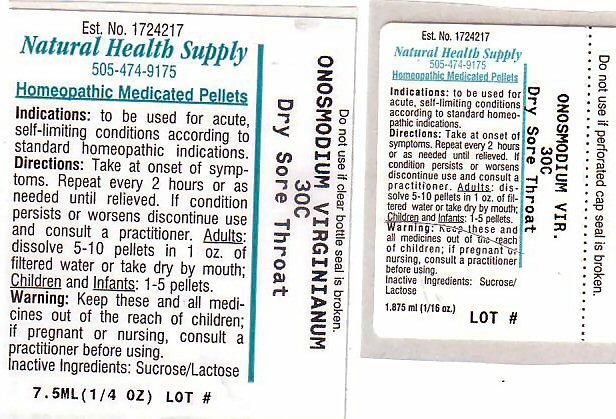 Dry Sore Throat (Onosmodium Virginianum Root) Pellet [Natural Health Supply]