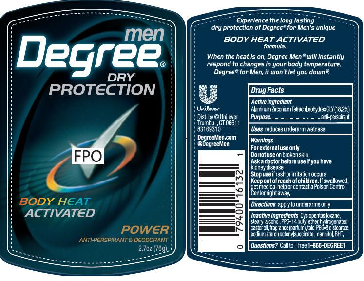 Degree Power Antiperspirant And Deodorant (Aluminum Zirconium Tetrachlorohydrex Gly) Stick [Conopco Inc. D/b/a Unilever]