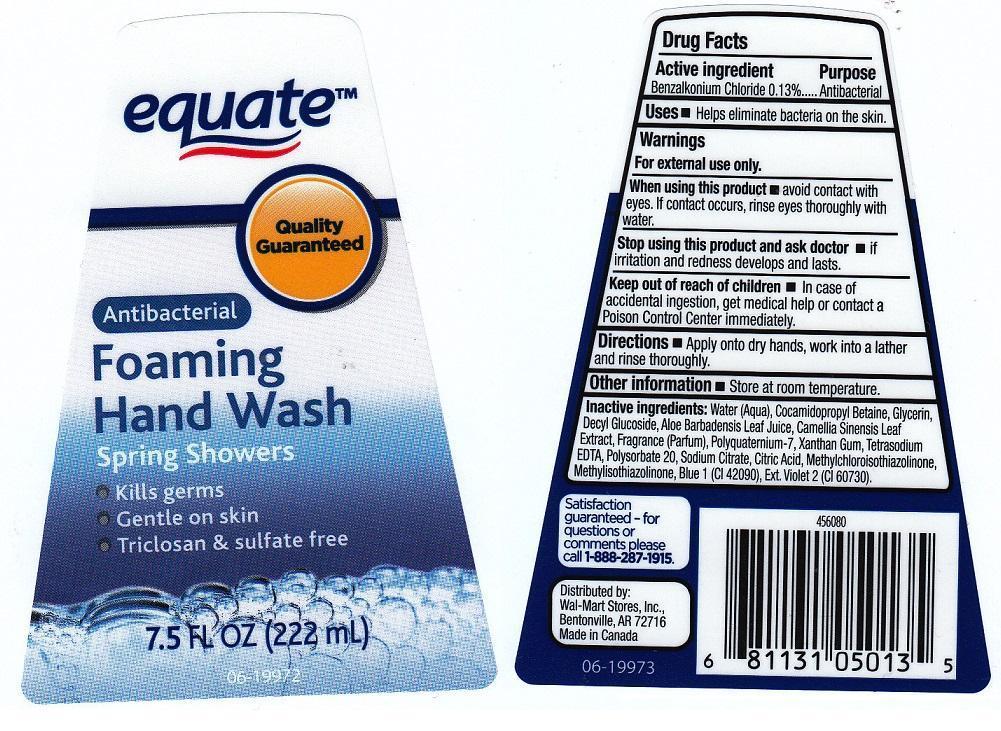 Equate Antibacterial Foaming Hand Spring Showers (Benzalkonium Chloride) Liquid [Wal-mart Stores Inc]