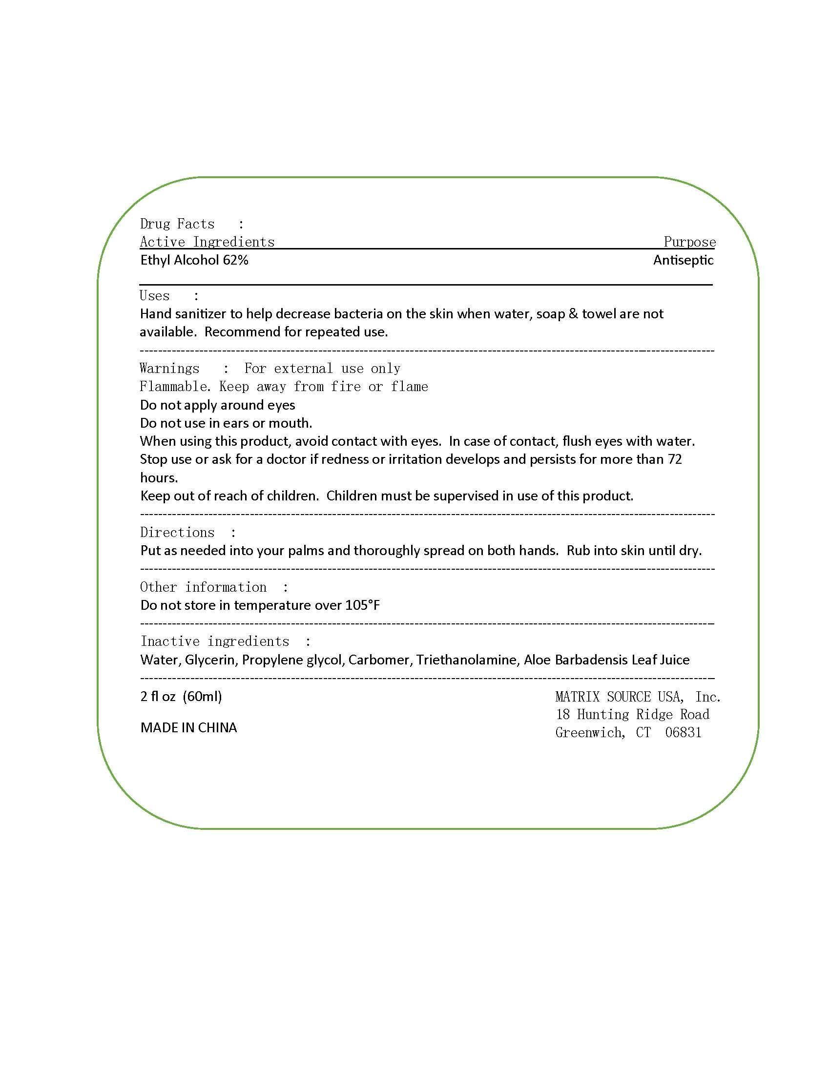 Hand Sanitizer (Ethyl Alcohol) Gel [Matrix Source Usa, Inc]
