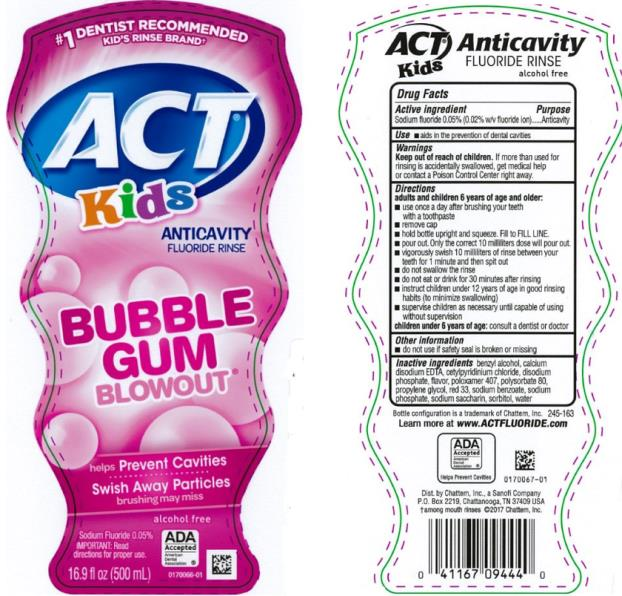 #1 DENTIST RECOMMENDED FLUORIDE BRAND alcohol free NEW BOTTLE! ACT Kids Anticavity Fluoride Rinse BubbleGum Blowout 16.9 fl oz (500 mL)