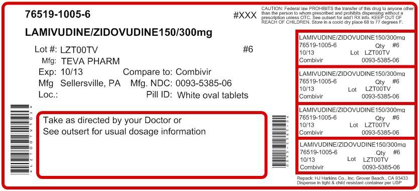 Lamivudine and Zidovudine Tabs USP 150 mg/300 mg 60s Label