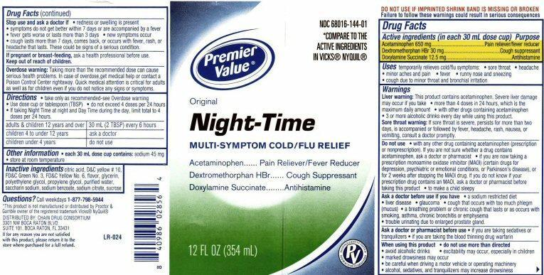 Night-time Original Multi-symptom Cold/flu Relief (Acetaminophen, Dextromethorphan Hydrobromide, Doxylamine Succinate) Liquid [Chain Drug Consortium, Llc]