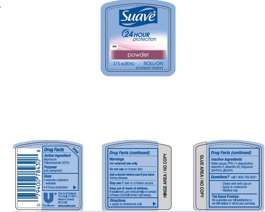 Suave Powder Roll On Antiperspirant And Deodorant (Aluminum Zirconium Tetrachlorohydrex Gly) Liquid [Conopco Inc. D/b/a Unilever]