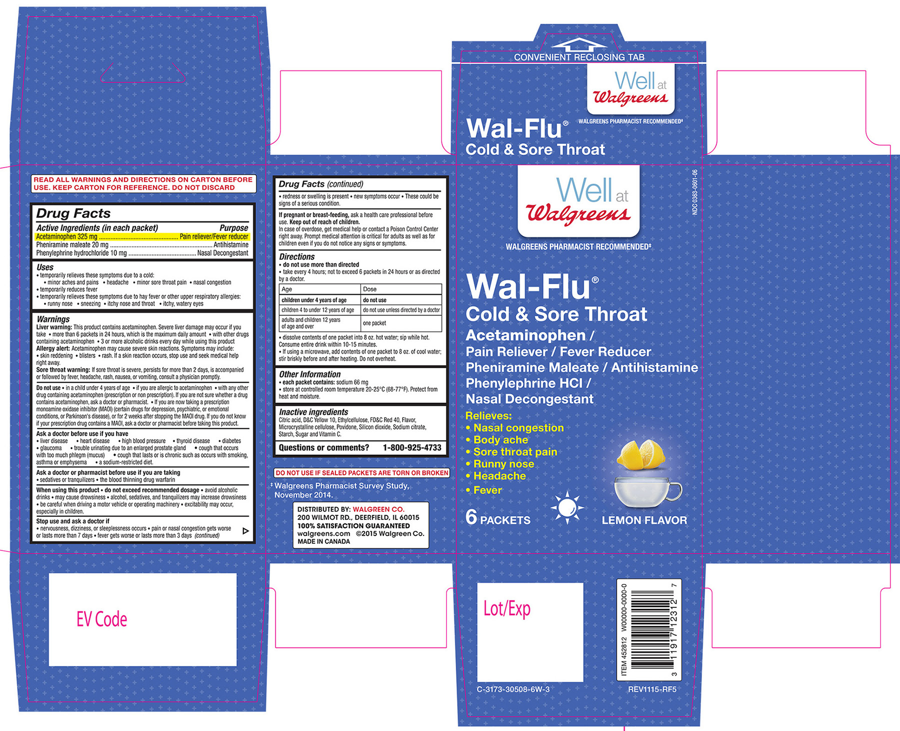 Walgreens Wal-flu Cold And Sore Throat Lemon Flavor (Acetaminophen, Pheniramine Maleate, Phenylephrine Hcl) Granule, For Solution [Walgreen Co.]