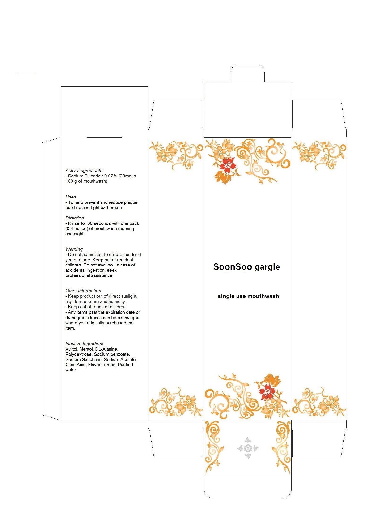 Soonsoo Gargle (Sodium Fluoride) Mouthwash [Chang Hwa Dang Co., Ltd.]