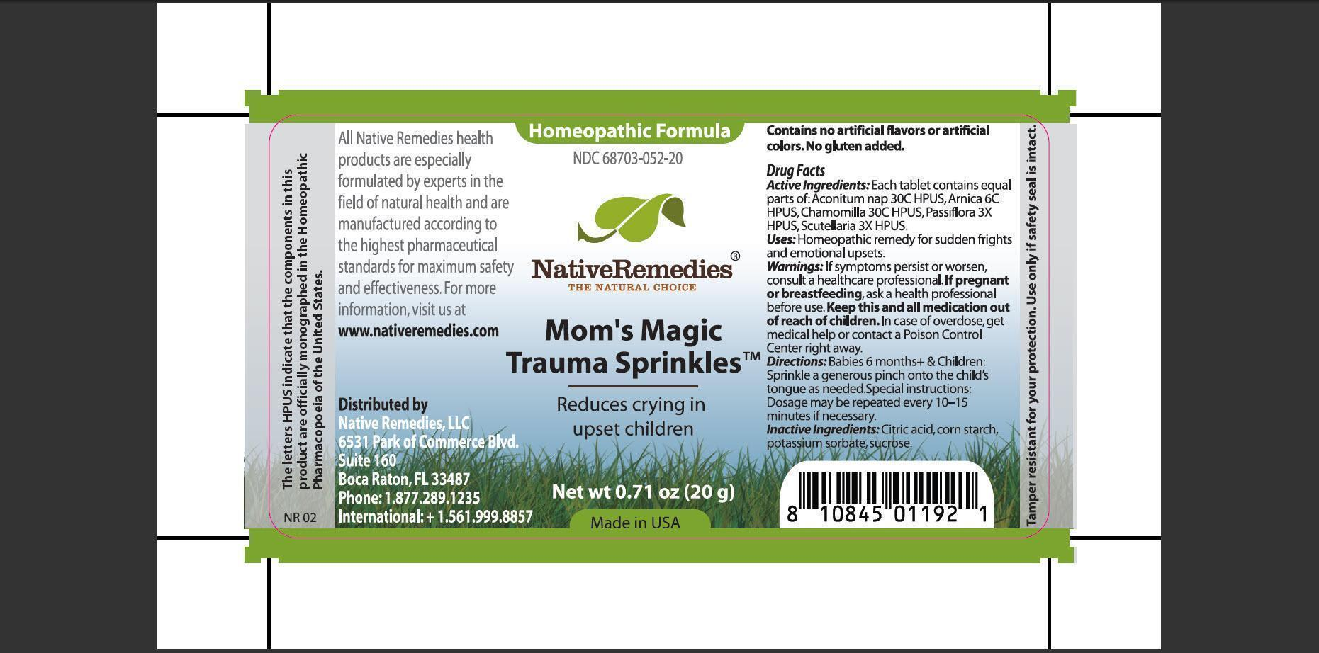 Moms Magic Trauma Sprinkles (Aconitum Nap, Arnica, Chamomilla, Passiflora, Scutellaria, Citric Acid, Corn Starch, Potassium Sorbate, Sucrose) Granule [Native Remedies, Llc]